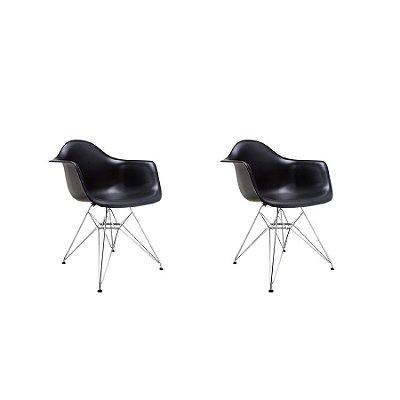 Kit 2x Cadeira Design Eames Eiffel DAR Ray Pes Metal Salas Florida Preto Braços Polipropileno Fratini