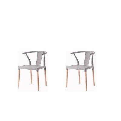 Kit 2x Cadeira Design Eiffel Eames Madeira Base Assento Polipropileno Redondo Bares Restaurantes Cinza Amsterdam Fratini
