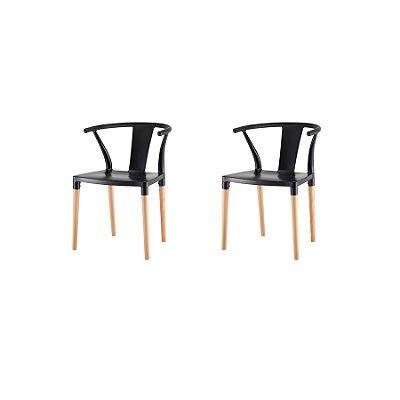 Kit 2x Cadeira Design Eiffel Eames Madeira Base Assento Polipropileno Redondo Bares Restaurantes Preta Amsterdam Fratini