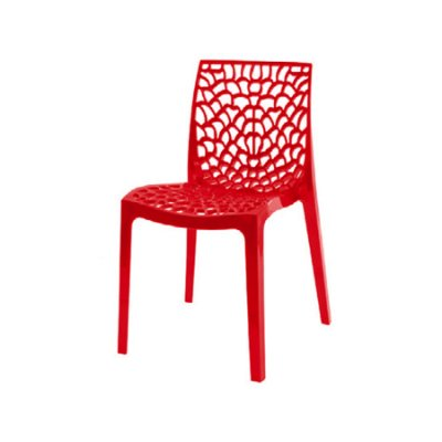 Kit 2x Cadeira Design Gruvier Vermelho Externa e Interna Cozinhas Salas Restaurantes Fratini