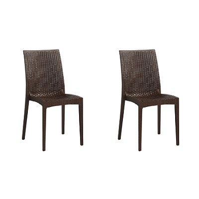 Kit 2x Cadeira Design Ibiza Marrom Externa e Interna Tramas tipo Rattan Cozinhas Varandas Salas Fratini