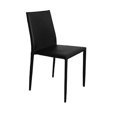 Kit 2x Cadeira Design Quadrada Preto Assento Estofado Tecido Couro Moderna Cozinhas Salas Zurique Fratini