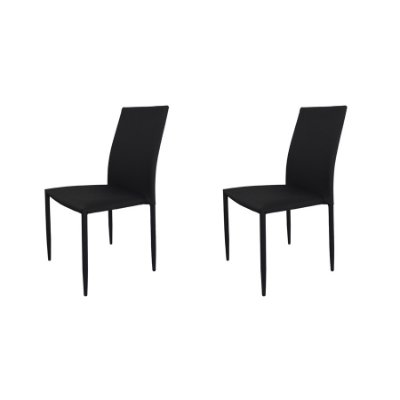 Kit 2x Cadeira Design Quadrada Preto Grafite Assento Tecido Moderna Cozinhas Salas Miami Fratini