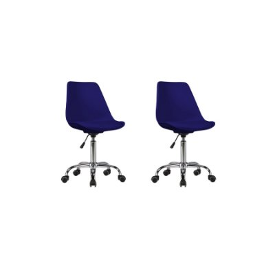 Kit 2x Cadeira Design Saarinen Office Eames Eiffel Rodizio Azul Marinho Quartos Chicago Fratini
