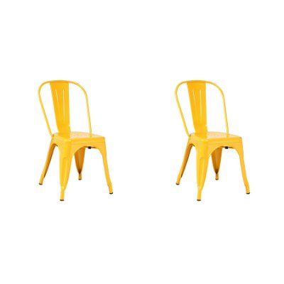 Kit 2x Cadeira Design Tolix Iron Francesinha Xavier Pauchard Amarelo Cozinhas Berlin Fratini