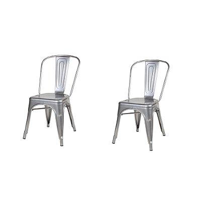 Kit 2x Cadeira Design Tolix Iron Francesinha Xavier Pauchard Prata Natural Cozinhas Berlin Fratini