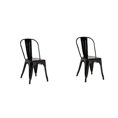 Kit 2x Cadeira Design Tolix Iron Francesinha Xavier Pauchard Preto Cozinhas Berlin Fratini