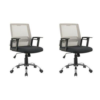 Kit 2x Cadeira Escritorio Fratini Office Rodizio Atlanta Cinza Giratoria Diretor Com Braços