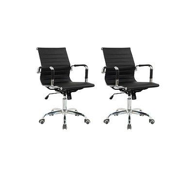 Kit 2x Cadeira Escritorio Fratini Office Rodizio Eames Manhattan Preto Cromado Giratoria Diretor Com Braços