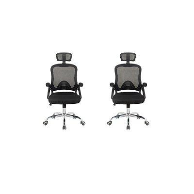 Kit 2x Cadeira Escritorio Fratini Office Rodizio Los Angeles Cinza Giratoria Presidente Com Braços