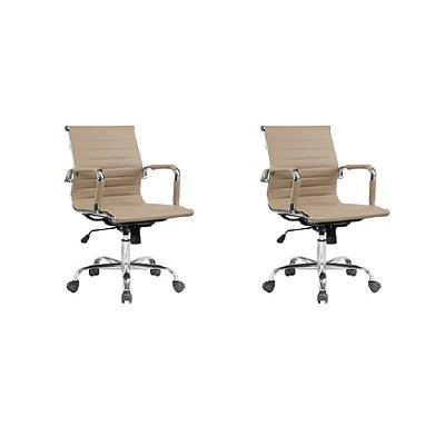 Kit 2x Cadeira Escritorio Fratini Office Rodizio Manhattan Eames Fendi Cromado Giratoria Diretor Com Braços