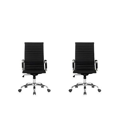 Kit 2x Cadeira Escritorio Fratini Office Rodizio Manhattan Eames Preto Cromado Giratoria Presidente Com Braços