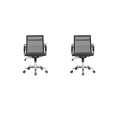 Kit 2x Cadeira Escritorio Fratini Office Rodizio Sidney Eames Preto Cromado Giratoria Presidente Com Braços