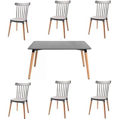Kit 2x Cadeira Mesa Fratini Design 6 lugares Classica Windsor Madeira Natural Restaurantes Salas Gourmet Roma Branco Cinza