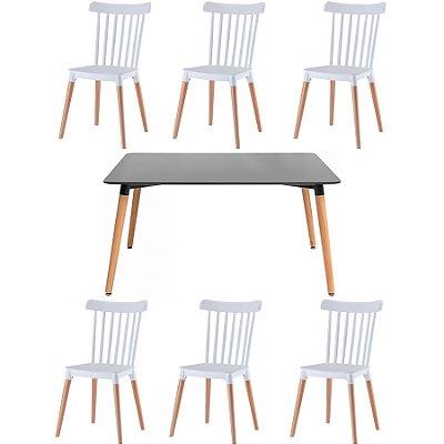 Kit 2x Cadeira Mesa Fratini Design 6 lugares Classica Windsor Madeira Natural Restaurantes Salas Gourmet Roma Branco Preto