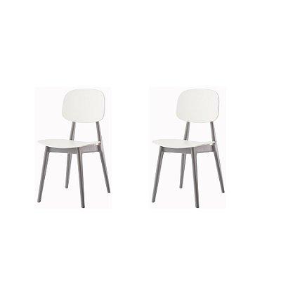 Kit 2x Cadeira Resistente Branco Cinza  Cozinhas Restaurantes Gourmet Varanda Bares Vegas Fratini