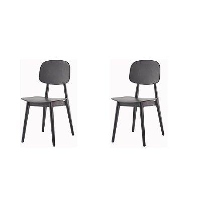 Kit 2x Cadeira Resistente Preto  Cozinhas Restaurantes Gourmet Varanda Bares Vegas Fratini