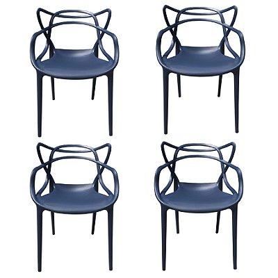 Kit 4x Cadeira Design Alegra Master Philippe Starck Azul Marinho Polipropileno Cozinhas Aviv Fratini