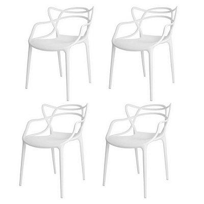 Kit 4x Cadeira Design Alegra Master Philippe Starck Branca Polipropileno Cozinhas Aviv Fratini