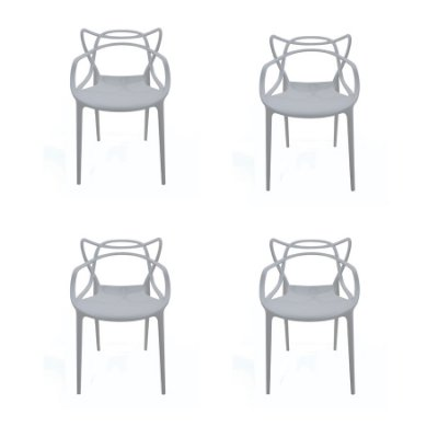 Kit 4x Cadeira Design Alegra Master Philippe Starck Cinza Claro Polipropileno Cozinhas Aviv Fratini