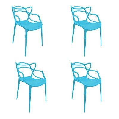Kit 4x Cadeira Design Alegra Master Philippe Starck New Blue Polipropileno Cozinhas Aviv Fratini