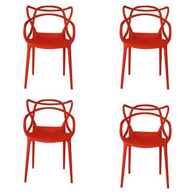 Kit 4x Cadeira Design Alegra Master Philippe Starck Vermelha Polipropileno Cozinhas Aviv Fratini