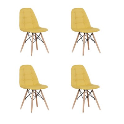 Kit 4x Cadeira Design Botone Eames Eiffel DAR Ray Pes Madeira Salas Madrid Amarelo  Fratini