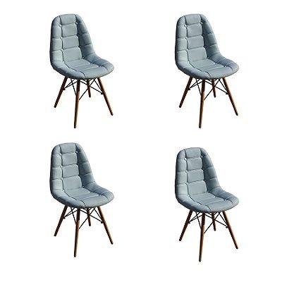 Kit 4x Cadeira Design Botone Eames Eiffel DAR Ray Pes Madeira Salas Madrid Azul Claro  Fratini