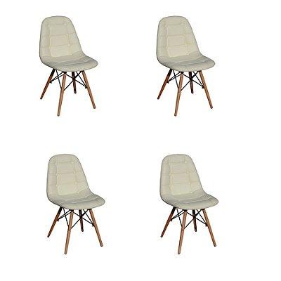 Kit 4x Cadeira Design Botone Eames Eiffel DAR Ray Pes Madeira Salas Madrid Bege  Fratini