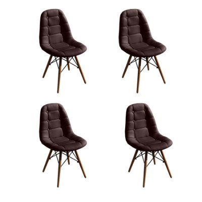 Kit 4x Cadeira Design Botone Eames Eiffel DAR Ray Pes Madeira Salas Madrid Marrom Café  Fratini