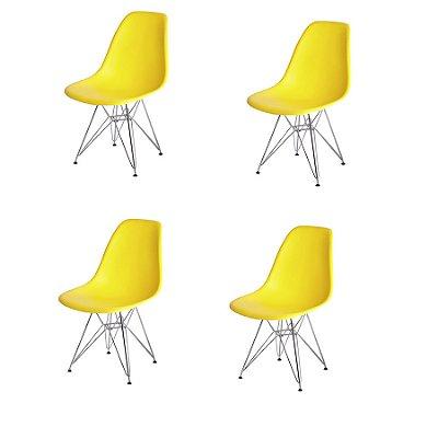 Kit 4x Cadeira Design Eames Eiffel DAR Ray Pes Ferro Salas Florida Amarela Assento Polipropileno Fratini