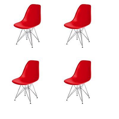 Kit 4x Cadeira Design Eames Eiffel DAR Ray Pes Ferro Salas Florida Vermelha Assento Polipropileno Fratini