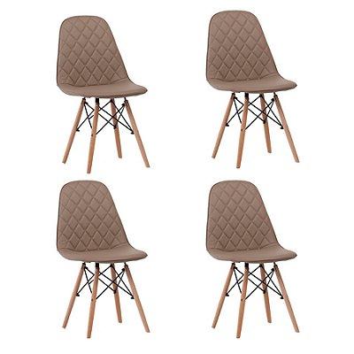 Kit 4x Cadeira Design Eames Eiffel DAR Ray Pes Madeira Salas Fendi Assento Couro Nice Fratini