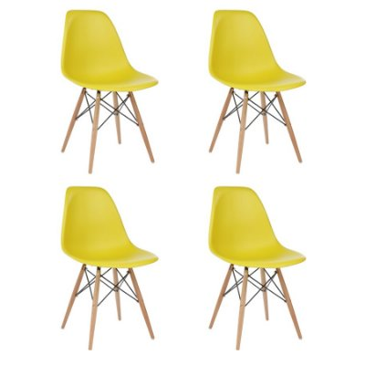 Kit 4x Cadeira Design Eames Eiffel DAR Ray Pes Madeira Salas Florida Amarela Assento Polipropileno Fratini