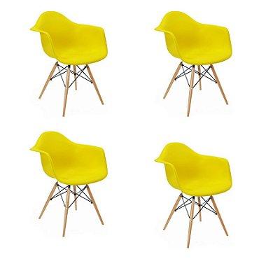 Kit 4x Cadeira Design Eames Eiffel DAR Ray Pes Madeira Salas Florida Amarela Braços Polipropileno Fratini