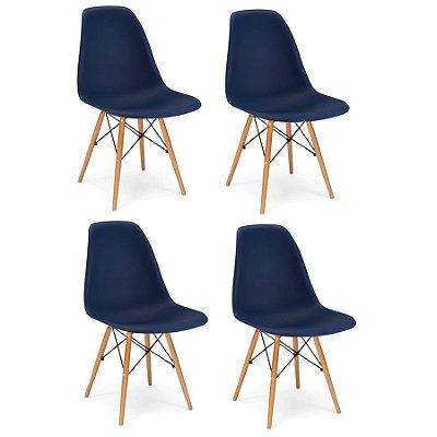 Kit 4x Cadeira Design Eames Eiffel DAR Ray Pes Madeira Salas Florida Azul Marinho Assento Polipropileno Fratini