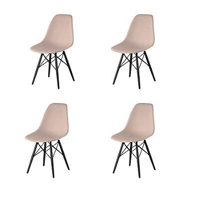 Kit 4x Cadeira Design Eames Eiffel DAR Ray Pes Madeira Salas Florida Fendi Assento Polipropileno Fratini