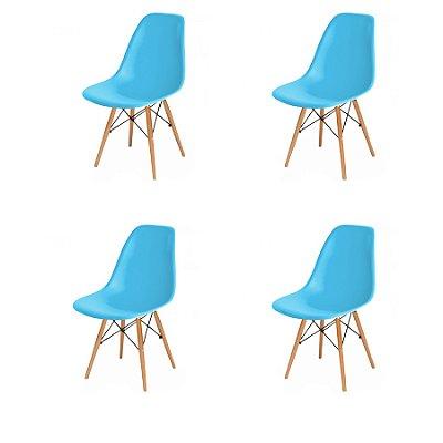 Kit 4x Cadeira Design Eames Eiffel DAR Ray Pes Madeira Salas Florida New Blue Assento Polipropileno Fratini