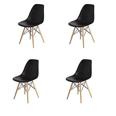 Kit 4x Cadeira Design Eames Eiffel DAR Ray Pes Madeira Salas Florida Preta Assento Polipropileno Fratini