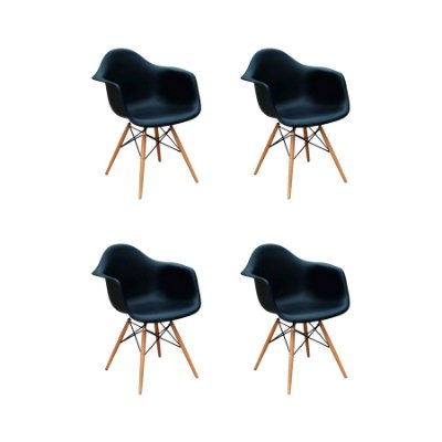 Kit 4x Cadeira Design Eames Eiffel DAR Ray Pes Madeira Salas Florida Preto Braços Polipropileno Fratini
