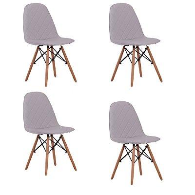 Kit 4x Cadeira Design Eames Eiffel DAR Ray Pes Madeira Salas Gelo Assento Couro Nice Fratini