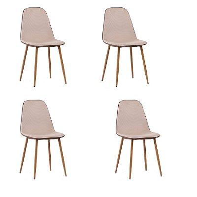 Kit 4x Cadeira Design Eames Eiffel DAR Ray Pes Madeira Salas Lyon Bege Marrom Assento Polipropileno Fratini