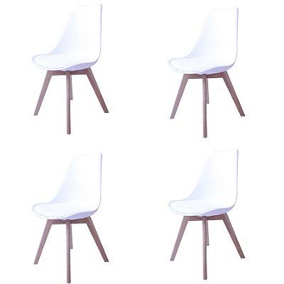 Kit 4x Cadeira Design Eames Eiffel DAR Ray Pes Madeira Salas Siena Branco Assento Couro Fratini
