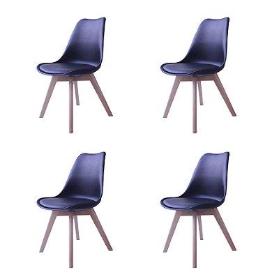 Kit 4x Cadeira Design Eames Eiffel DAR Ray Pes Madeira Salas Siena Preto Assento Couro Fratini
