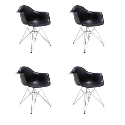 Kit 4x Cadeira Design Eames Eiffel DAR Ray Pes Metal Salas Florida Preto Braços Polipropileno Fratini