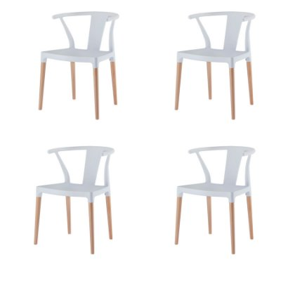 Kit 4x Cadeira Design Eiffel Eames Madeira Base Assento Polipropileno Redondo Bares Restaurantes Branca Amsterdam Fratini