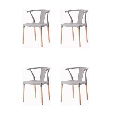 Kit 4x Cadeira Design Eiffel Eames Madeira Base Assento Polipropileno Redondo Bares Restaurantes Cinza Amsterdam Fratini