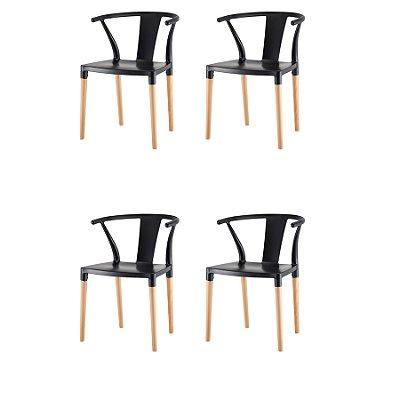 Kit 4x Cadeira Design Eiffel Eames Madeira Base Assento Polipropileno Redondo Bares Restaurantes Preta Amsterdam Fratini