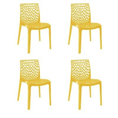Kit 4x Cadeira Design Gruvier Amarelo Externa e Interna Cozinhas Salas Restaurantes Fratini