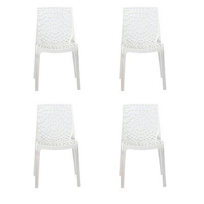Kit 4x Cadeira Design Gruvier Branca Externa e Interna Cozinhas Salas Restaurantes Fratini